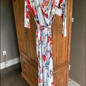 Maxi wrap maternity dress